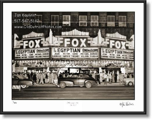 Click on this image to see an enlarged view of FOX THEATER Old Detroit photo picture print 1954.