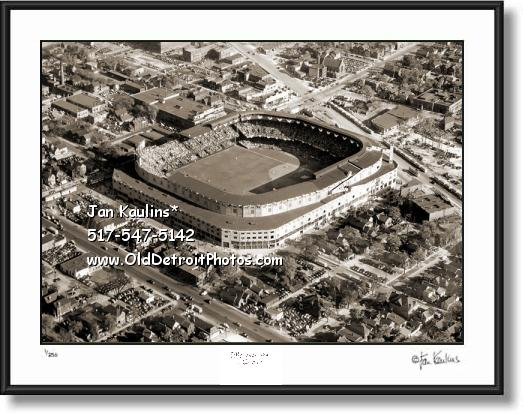 Click on this image to see an enlarged view of BRIGGS STADIUM aerial photo picture print Briggs.