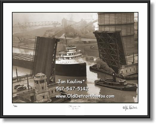 Click on this image to see an enlarged view of HENRY FORD II Freighter Rouge Plant photo print .