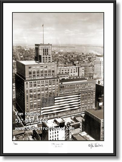 Click on this image to see an enlarged view of J L HUDSON'S aerial FLAG Hudsons photo print.