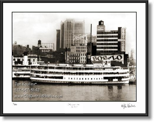 Click on this image to see an enlarged view of BOB LO BOAT Dock Vernors Detroit photo print.