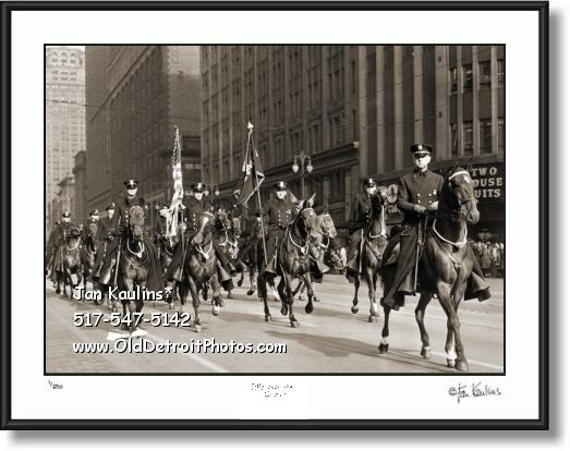 Click on this image to see an enlarged view of DETROIT MOUNTED POLICE parade photo print.