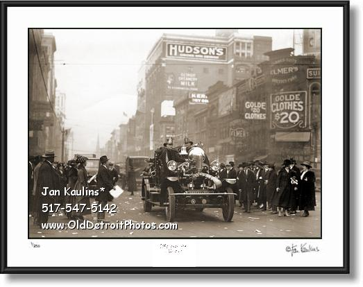 Click on this image to see an enlarged view of OLD DETROIT FIRE ENGINE FIREMEN photo print.