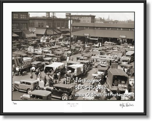 Click on this image to see an enlarged view of EASTERN MARKET 1932 old Detroit photo print.
