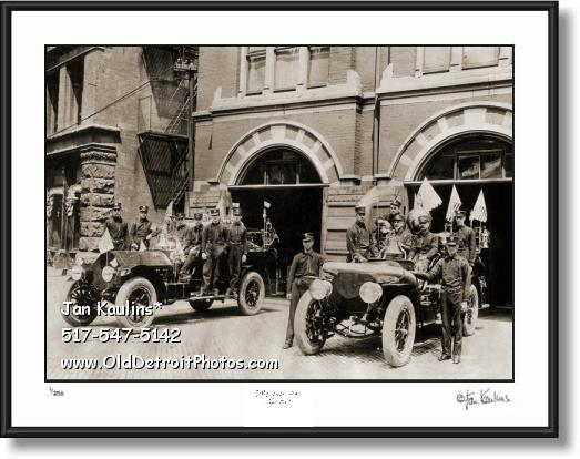 OLD DETROIT FIRE ENGINES photo print picture
