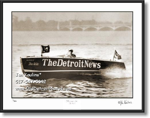 Click on this image to see an enlarged view of Vintage DETROIT NEWS boat photo print.