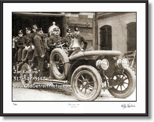 Click on this image to see an enlarged view of Vintage Detroit Fire Dept Engine old photo print.