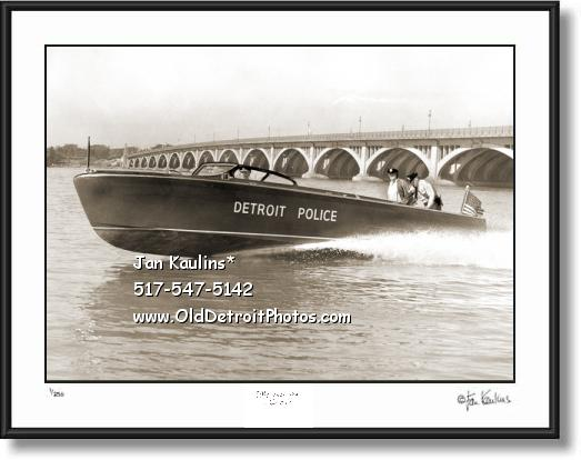 DETROIT POLICE speedboat 1952 photo print