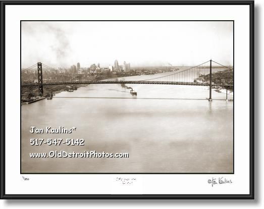 Ambassador Bridge Old Detroit Aerial photo print