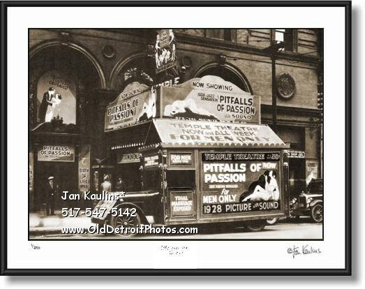 Click on this image to see an enlarged view of OLD TEMPLE THEATER Detroit photo picture print.