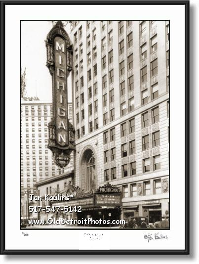 Click on this image to see an enlarged view of MICHIGAN THEATRE Detroit old marquee photo.