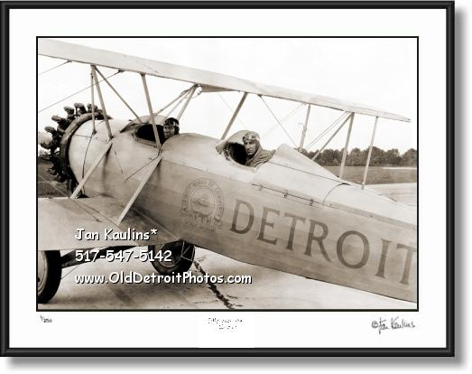 Click on this image to see an enlarged view of OLD DETROIT 1928 BI-PLANE photo print picture.