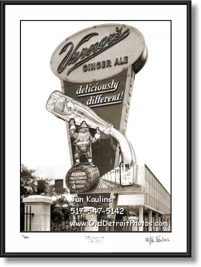 Click on this image to see an enlarged view of VERNOR'S GINGER ALE plant Vernors sign photo.