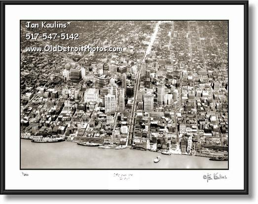 Click on this image to see an enlarged view of Vintage DETROIT AERIAL photo picture print 1956.