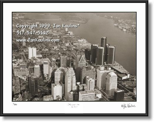DETROIT aerial photo art Detroit skyline photo