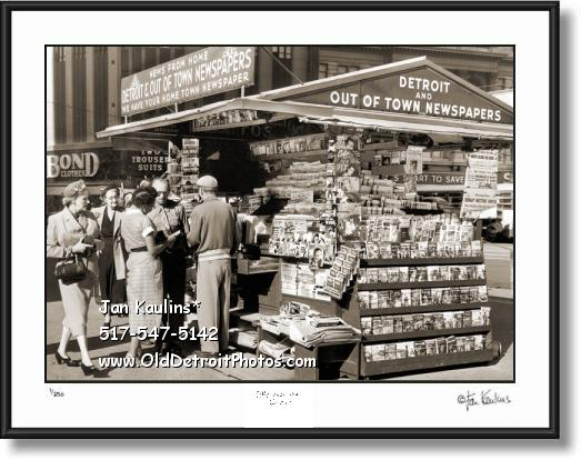 OLD DETROIT NEWS STAND photo picture print
