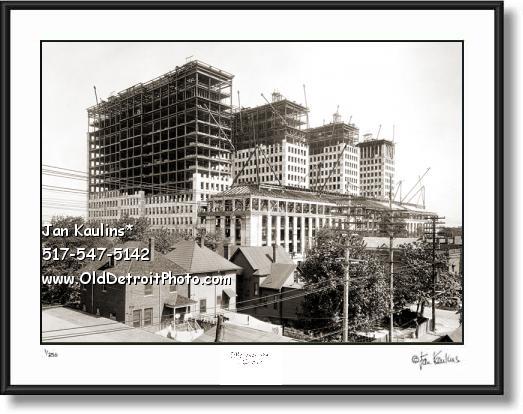 Click on this image to see an enlarged view of Old GM BUILDING construction photo picture print.
