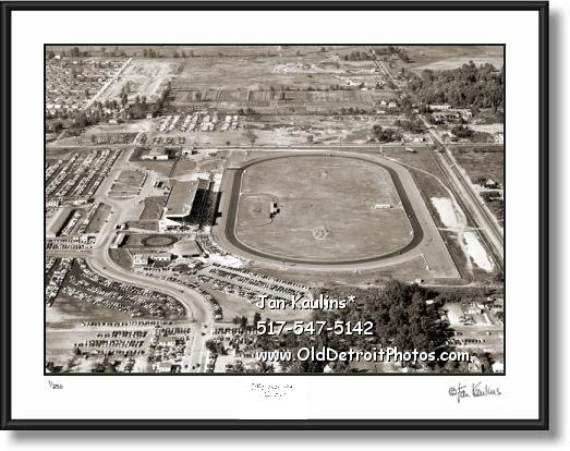 Click on this image to see an enlarged view of HAZEL PARK RACE TRACK 1954 old picture photo.
