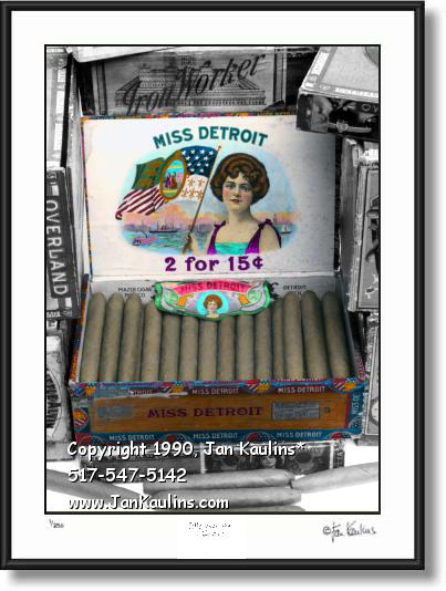 MISS DETROIT Cigar box picture photo art print