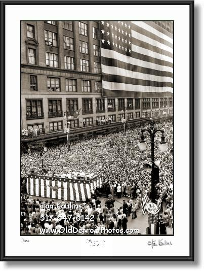 Click on this image to see an enlarged view of JL HUDSON'S War Bond Rally 1943 photo print.