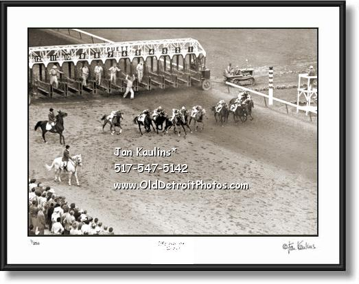 Click on this image to see an enlarged view of Old HAZEL PARK RACE TRACK 1951 photo print.