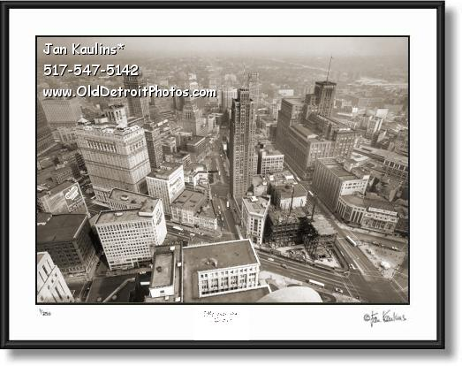 DETROIT AERIAL vintage old photo art print #A1