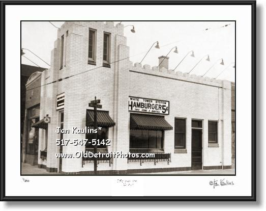 Click on this image to see an enlarged view of WHITE TOWER Hamburgers Detroit photo print.