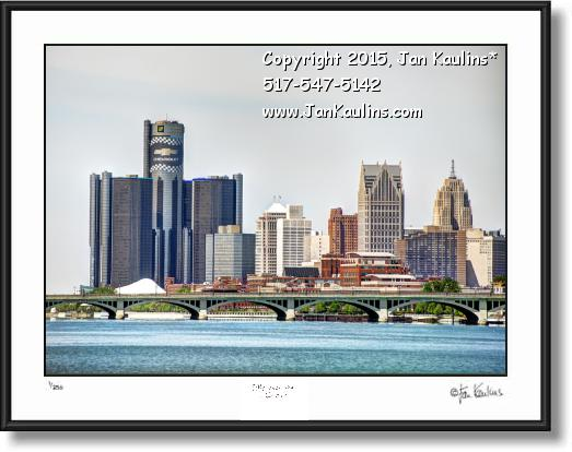 Click on this image to see an enlarged view of Detroit Skyline Belle Isle Bridge photo print.