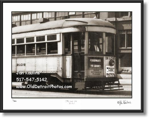 Click on this image to see an enlarged view of WALLED LAKE Detroit Streetcar Ad photo print.