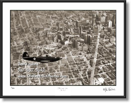 Click on this image to see an enlarged view of COBRA P-39 Fighter Jet over Detroit 1941 photo.