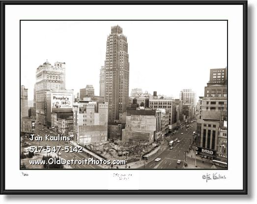 Click on this image to see an enlarged view of MAJESTIC BLDG Detroit demolition 1962 photo.