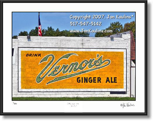 Click on this image to see an enlarged view of VERNORS Detroit mural sign old art photo print.