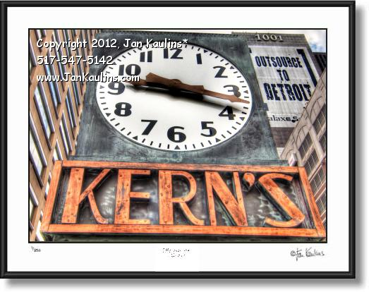 Click on this image to see an enlarged view of KERN'S CLOCK print photo Kern's Clock photo.