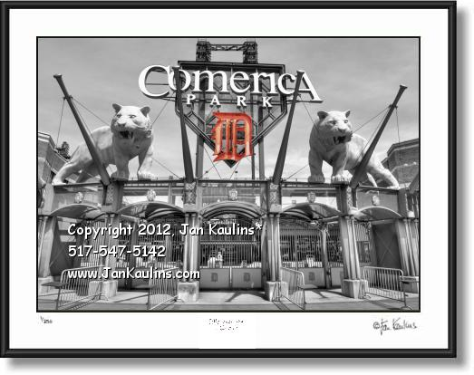 Click on this image to see an enlarged view of COMERICA PARK TWO TIGERS 'D' photo print art.