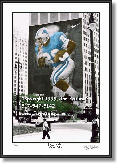 Click on this image to see an enlarged view of Barry Sanders Mural photo picture Detroit Lions.