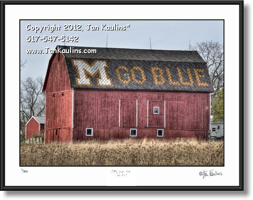 Click on this image to see an enlarged view of M GO BLUE BARN Ann Arbor photograph art print.