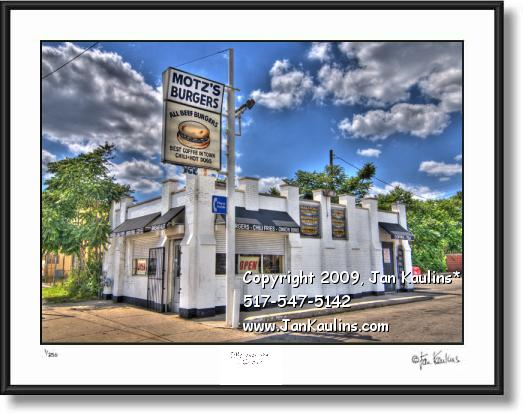 Click on this image to see an enlarged view of MOTZ'S Burgers Detroit Mott's Burger photo print.
