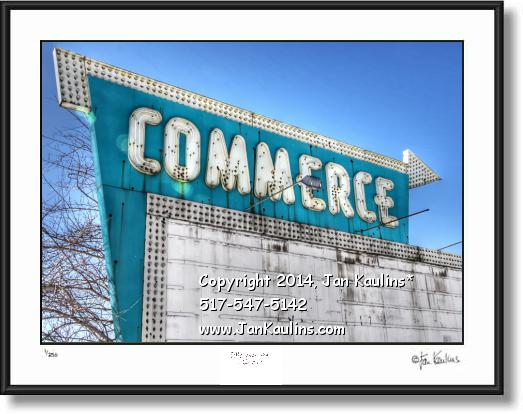 Click on this image to see an enlarged view of COMMERCE MI DRIVE IN THEATER photo art print.