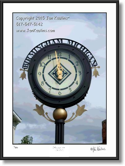 BIRMINGHAM MI CLOCK photo picture art  print