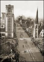 Click on this image to see an enlarged view of WOODWARD AVE. FYFE BLDG. Parade 1937 photo.