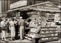 Click on this image to see an enlarged view of OLD DETROIT NEWS STAND photo picture print.